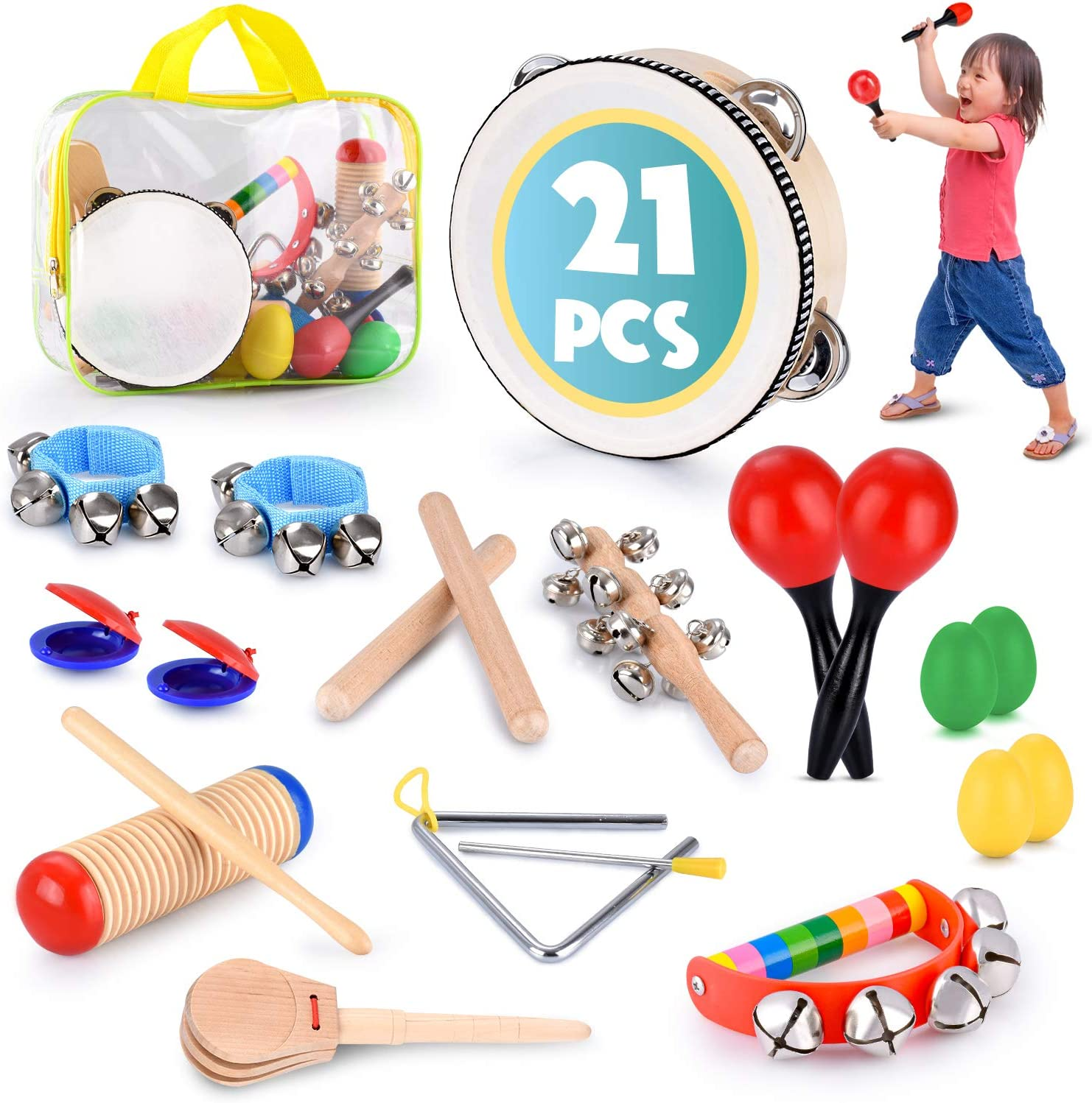 1 Pcs Wooden Sand Eggs Children Kids Baby Educational Instruments Musical Toys /&