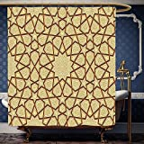 Wanranhome Custom-made shower curtain Antique by Arabesque Star Shapes on Retro Design with Fractures Classic Islamic Eid Mosque Print Cream Brown For Bathroom Decoration 72 x 92 inches