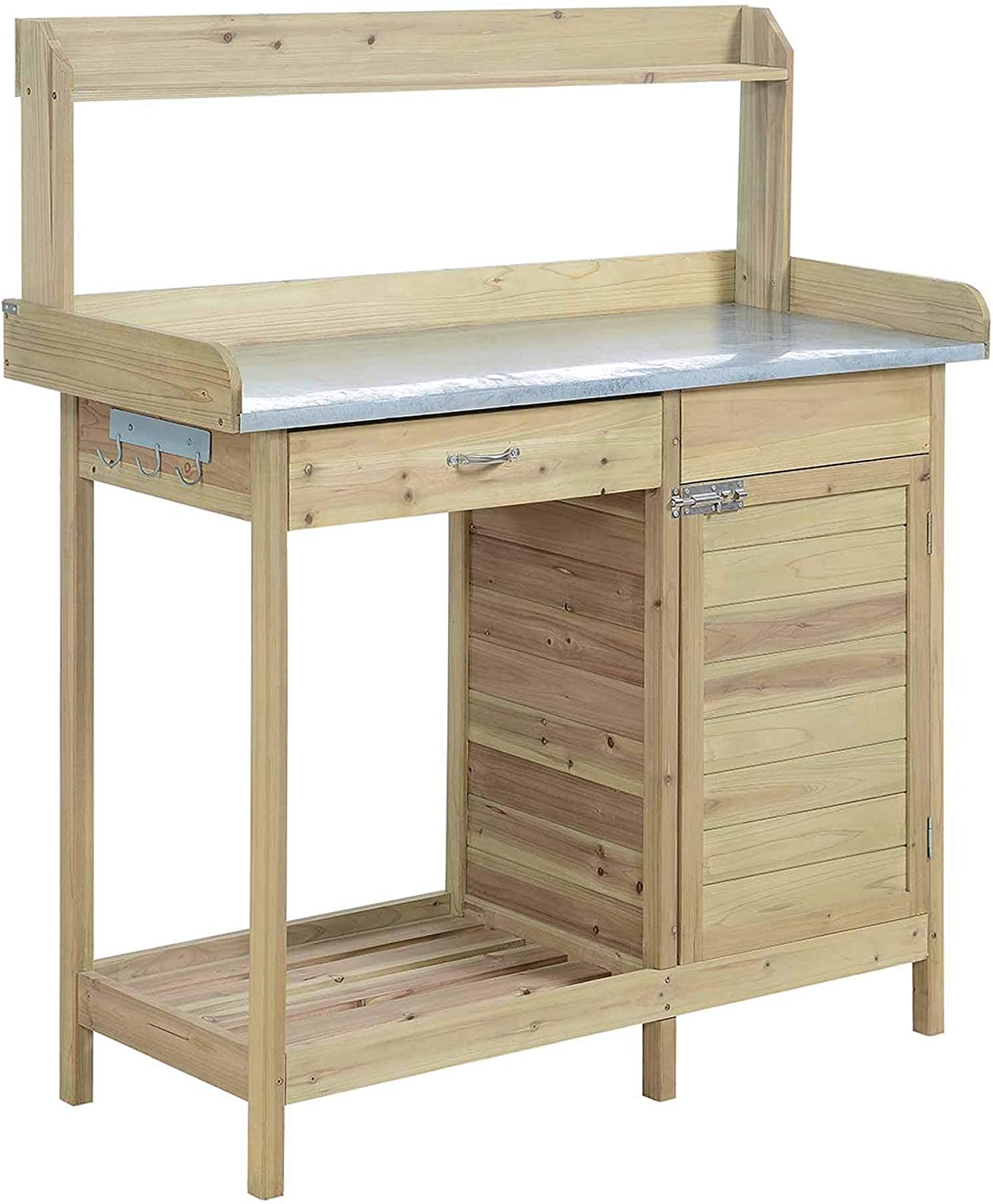 Convenience Concepts Deluxe Potting Bench with Cabinet, Natural Fir
