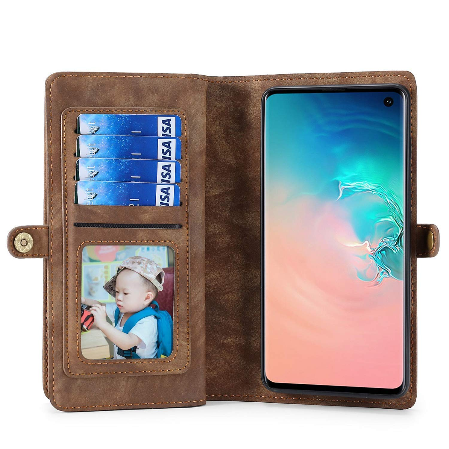 6.1 inch Spritech iPhone XR Wallet Case,Handmade Leather Large Capacity Detachable Zipper Wallet Cover for iPhone XR