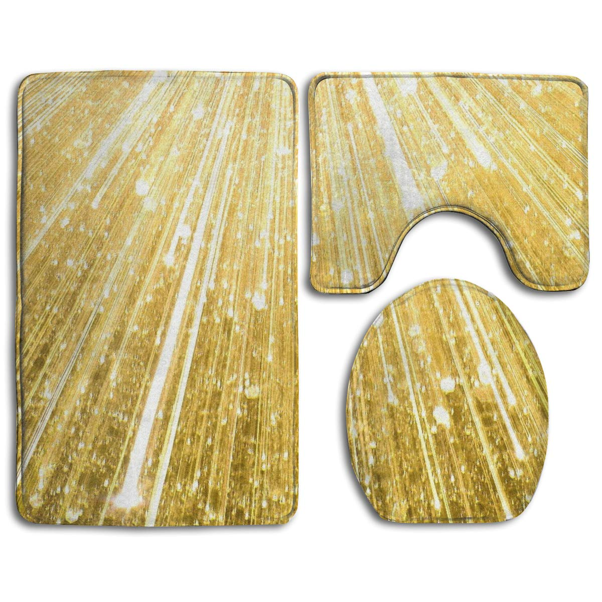 Cool Amazon Com Happybeth Bathroom Rug Mats Set 3 Piece Gold Caraccident5 Cool Chair Designs And Ideas Caraccident5Info