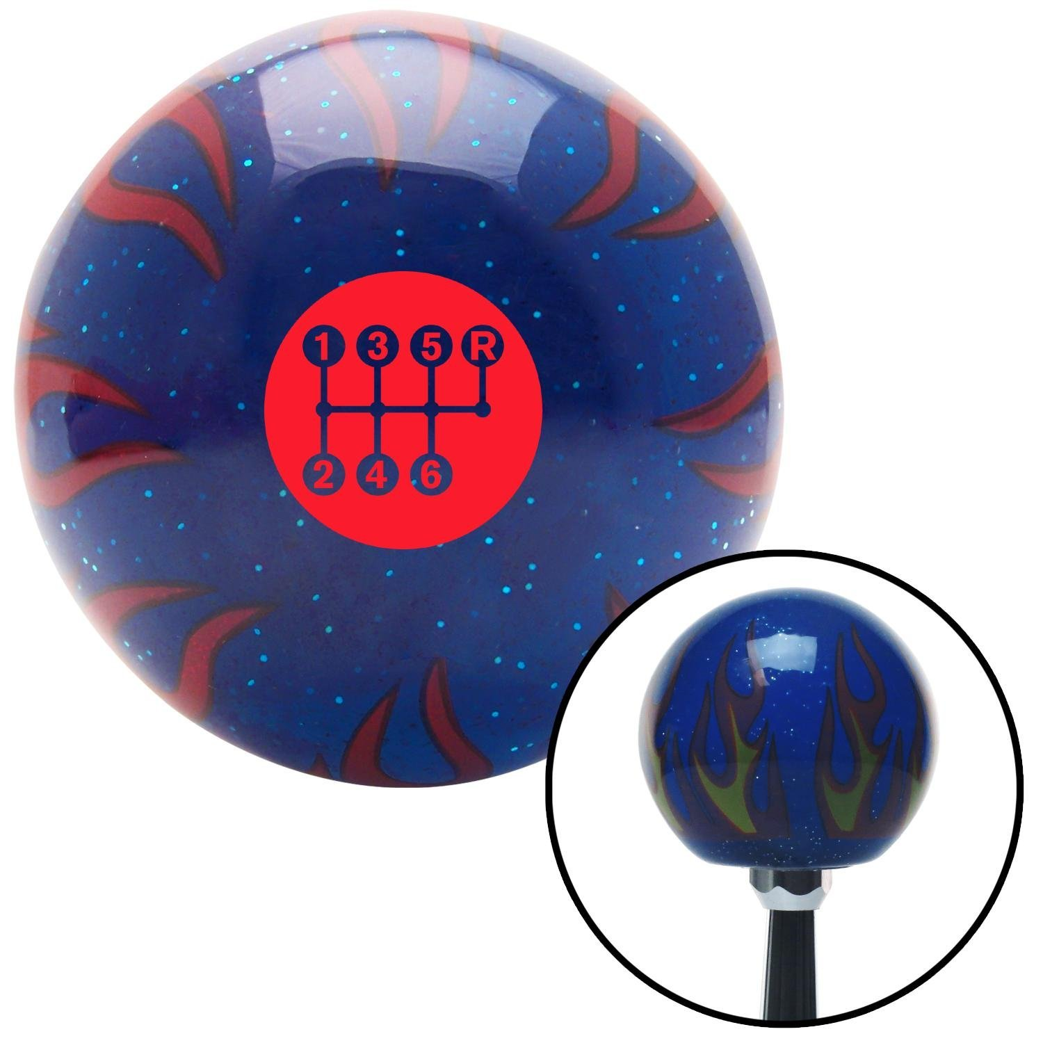 American Shifter 298307 Shift Knob Red 6 Speed Shift Pattern - Dots 26 Blue Flame Metal Flake