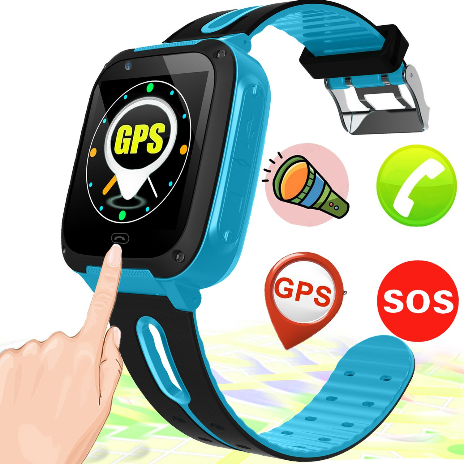 Kids Smart Watch Smart Wrist Watch Phone for 3-12 Year Old with GPS Tracker SOS Camera Sim Card Slot Game Touch Screen Smartwatch Educational Toys Back to School for Boys Girls