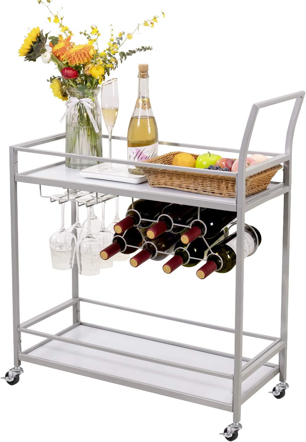 JBBCN Bar Serving Cart, Home Party Bar Cart on Wheels Wood Metal Wine Rack Trolley,Suitable for Kitchen Living Room Outdoor,Silver Finish