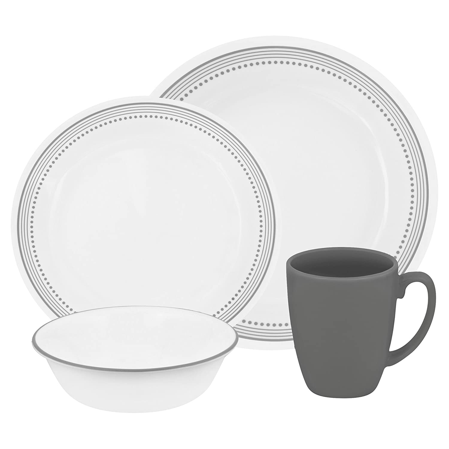 Corelle Vitrelle Glass Mystic Chip and Break Resistant Dinner Set, Set of 16, Grey by Corelle 3155