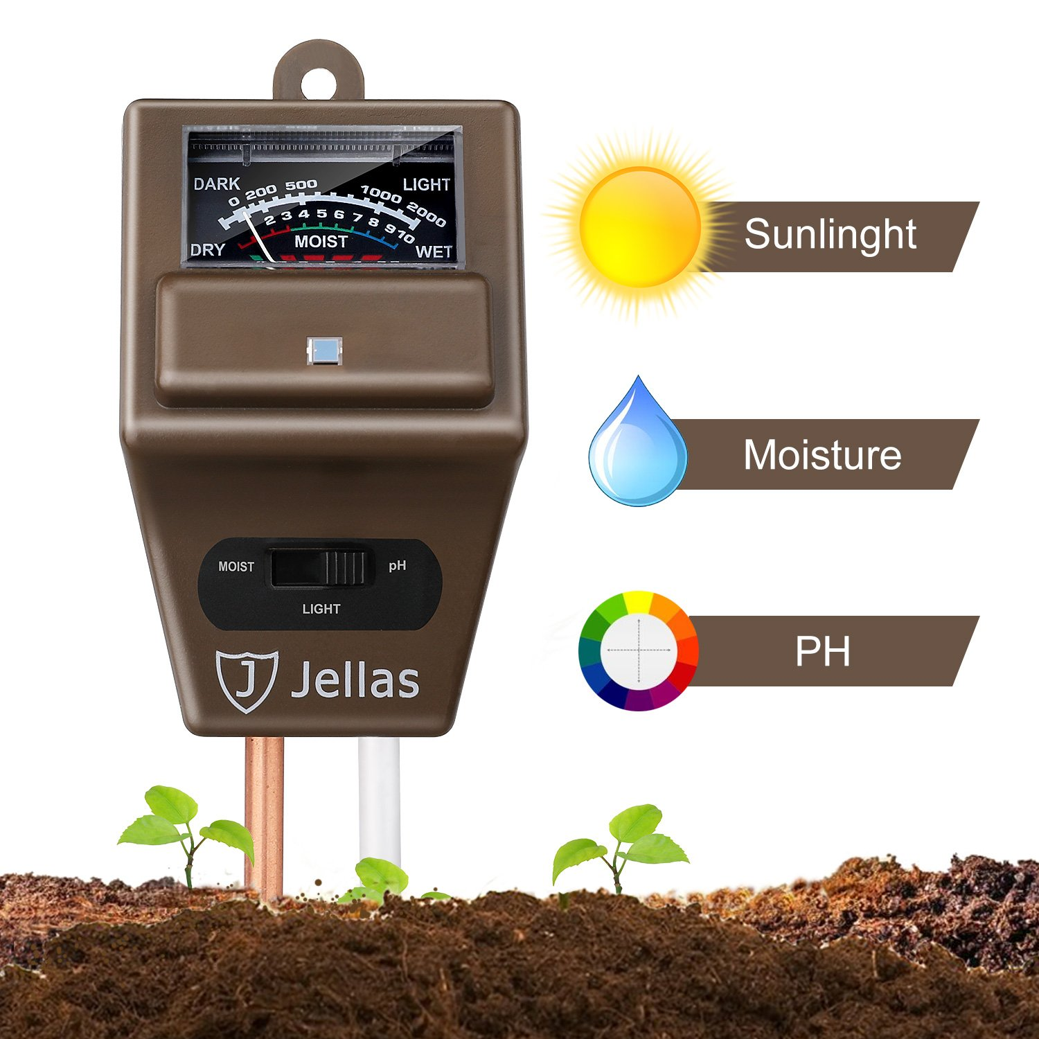 Jellas Soil Moisture Meter - 3 in 1 Soil Tester Kit Plant Moisture Sensor Meter/Light/pH Tester for Home, Garden, Lawn, Farm Promote Plants Healthy Growth - Brown Plants-Soil-Tester-029C-Y