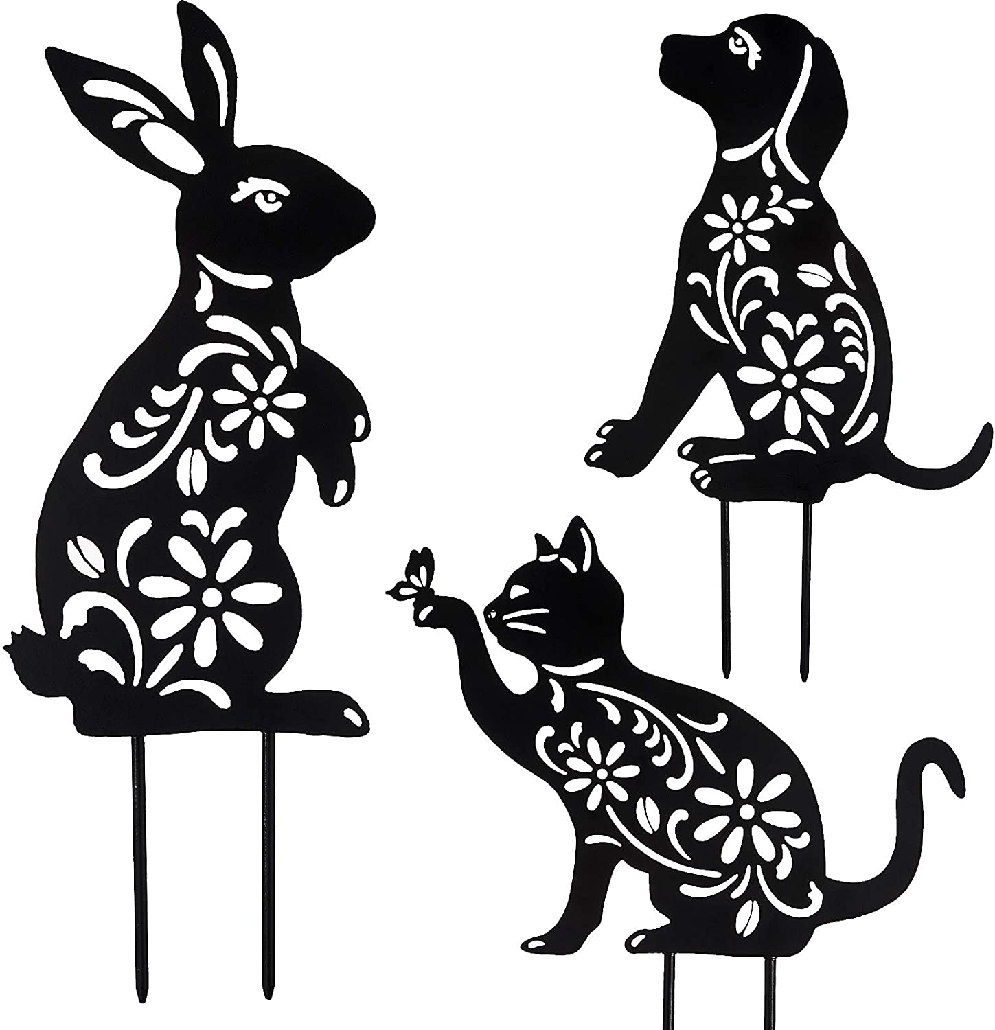 Hotop 3 Pieces Animal Silhouette Garden Stake Black Puppy Dog Bunny and Cat Silhouette Stake Metal Animal Shape Decoration for Yard Lawn Garden Outdoor Decoration