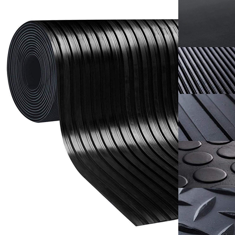 rutschfeste Gummiplatte Pferdestallmatte oder Werkbankmatte Bodenmatte aus Gummi Viele Gr/ö/ßen zur Auswahl Geeignet als Garagenbodenmatte 1,2x4,5 m, Glatt - St/ärke: 3mm