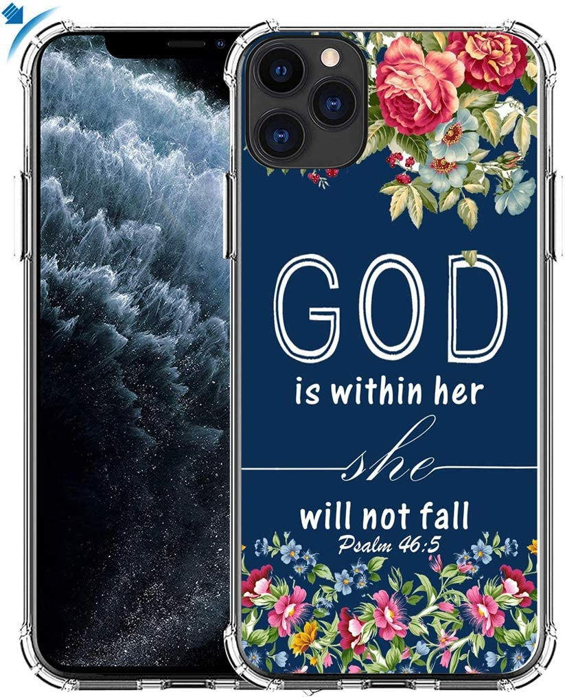 Case for iPhone 11 Pro & MUQR Gel Silicone Slim Drop Proof Heavy Duty Protection Cover Compatible for iPhone 11 Pro & Christian Bible Sayings God is Within Her She Will Not Fall