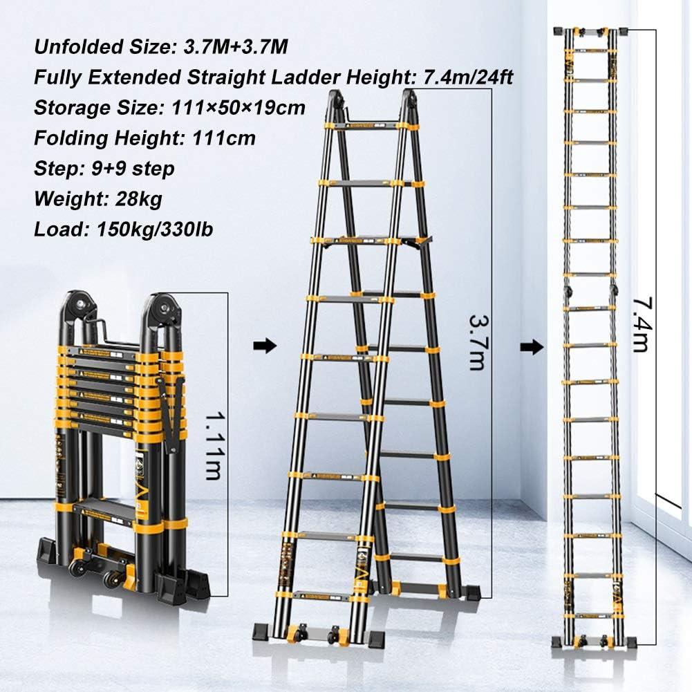 Escalera telescópica 24 Pies 7,4M De Aluminio Telescópica Escalera Plegable con Estabilizador, Escalera Portátil Extensión Telescópica para La Ingeniería Loft Oficina De Hogares, Negro, Carga 330lb: Amazon.es: Hogar