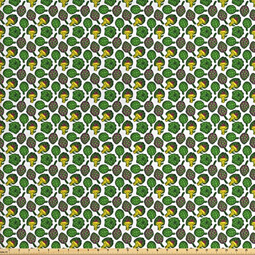 Artichoke Fabric by the Yard by Ambesonne, Vivid Colored Artichokes Cooking Food Eating Groceries Vegan Options, Decorative Fabric for Upholstery and Home Accents, Yellow and Fern Green - Artichoke Windows