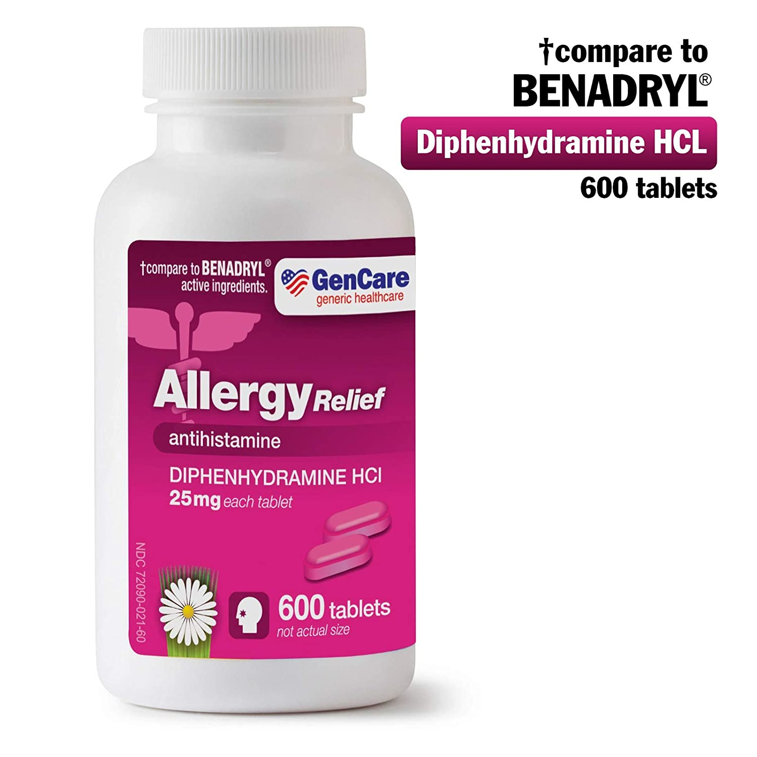 GenCare - Allergy Relief Medicine | Antihistamine Diphenhydramine HCl 25mg  (600 Tablets Per