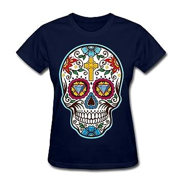 t shirts De la Mujer Gran azúcar Calavera Mexicana para el día de los Muertos Camiseta, Dia de los t 074, Azul Oscuro: Amazon.es: Deportes y aire libre