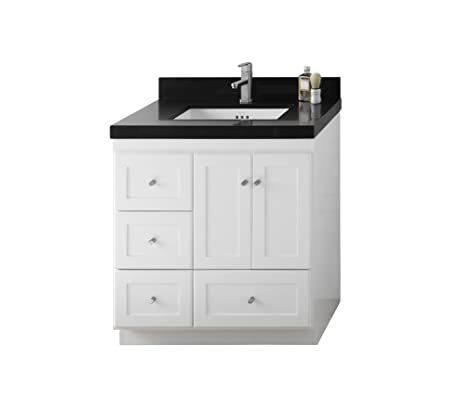 RONBOW Shaker 31 Inch Modular Bathrom Vanity Set In White, Single Bathroom  Vanity With Top
