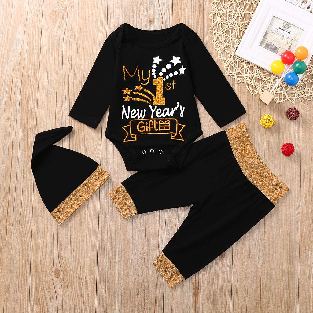 Baby Boys Girls Birthday Clothing Set 1st New Year Letter Romper Pants Hat 3PCS Outfits Set Newborn 0-18 Mos Christmas Outfits Clothes