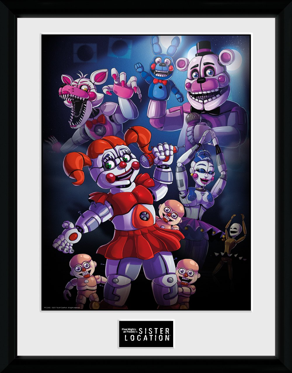 GB eye PFC2450 Five Nights At Freddy's, Sister location Group Framed Print, Wood, Multi-Colour, 52 x 44 x 3 cm
