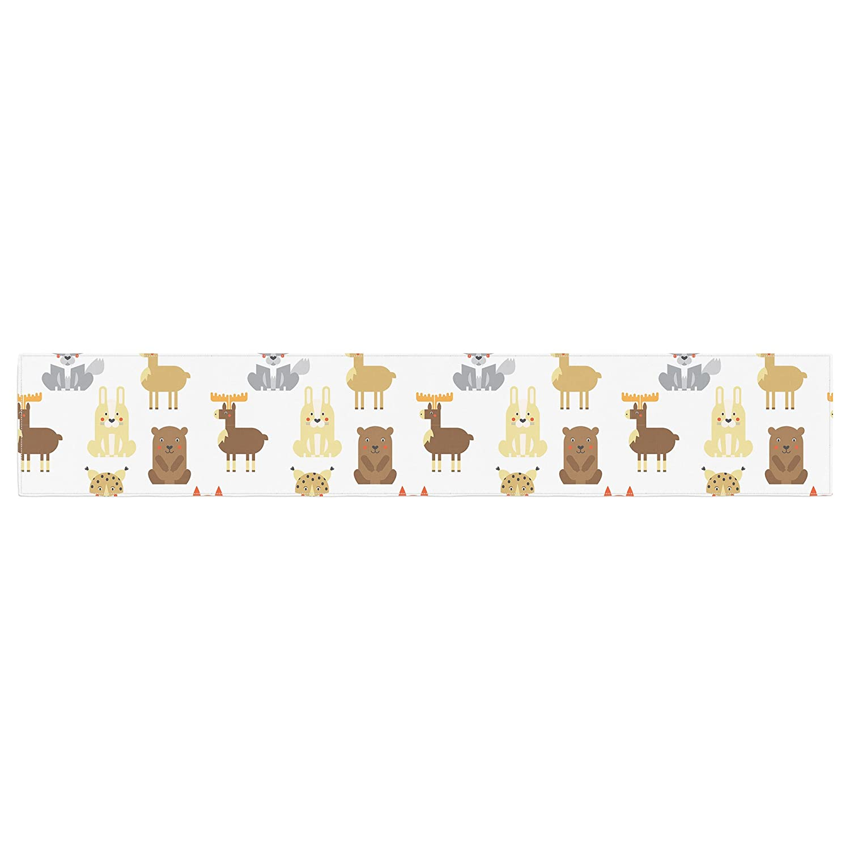 KESS InHouse Petit Griffin Retro Animals Orange Gray Table Runner 16 x 180