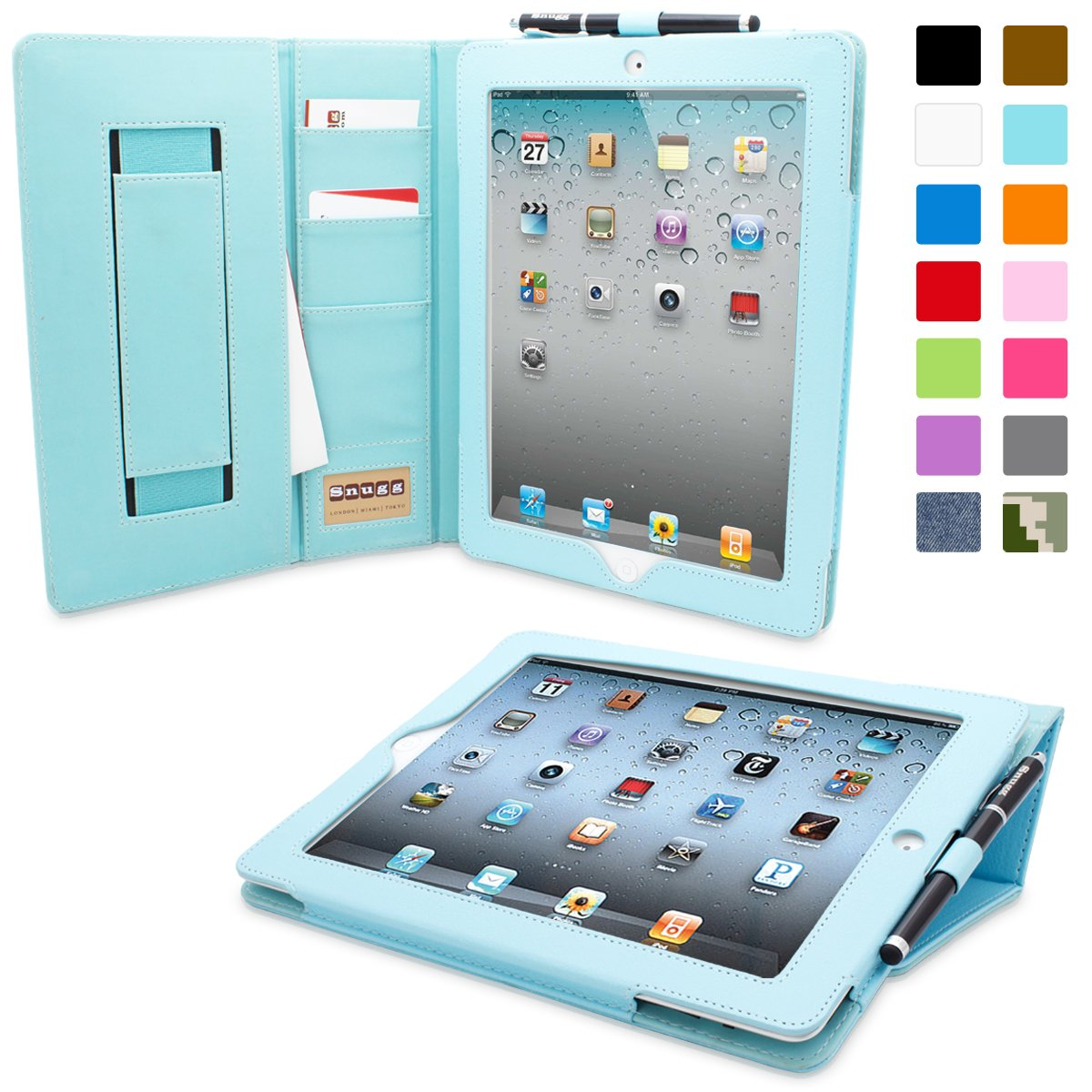 iPad 2 Case, Snugg Executive Baby Blue Leather Smart Case Cover Apple iPad 2 Protective Flip Stand Cover With Auto Wake/Sleep B00D2R3U6Y