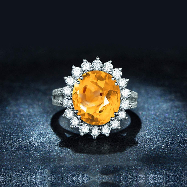 Gnzoe Jewelry-Womens Sterling Silver Ringsanniversary Rings Yellow Created-Citrine November Birthstone