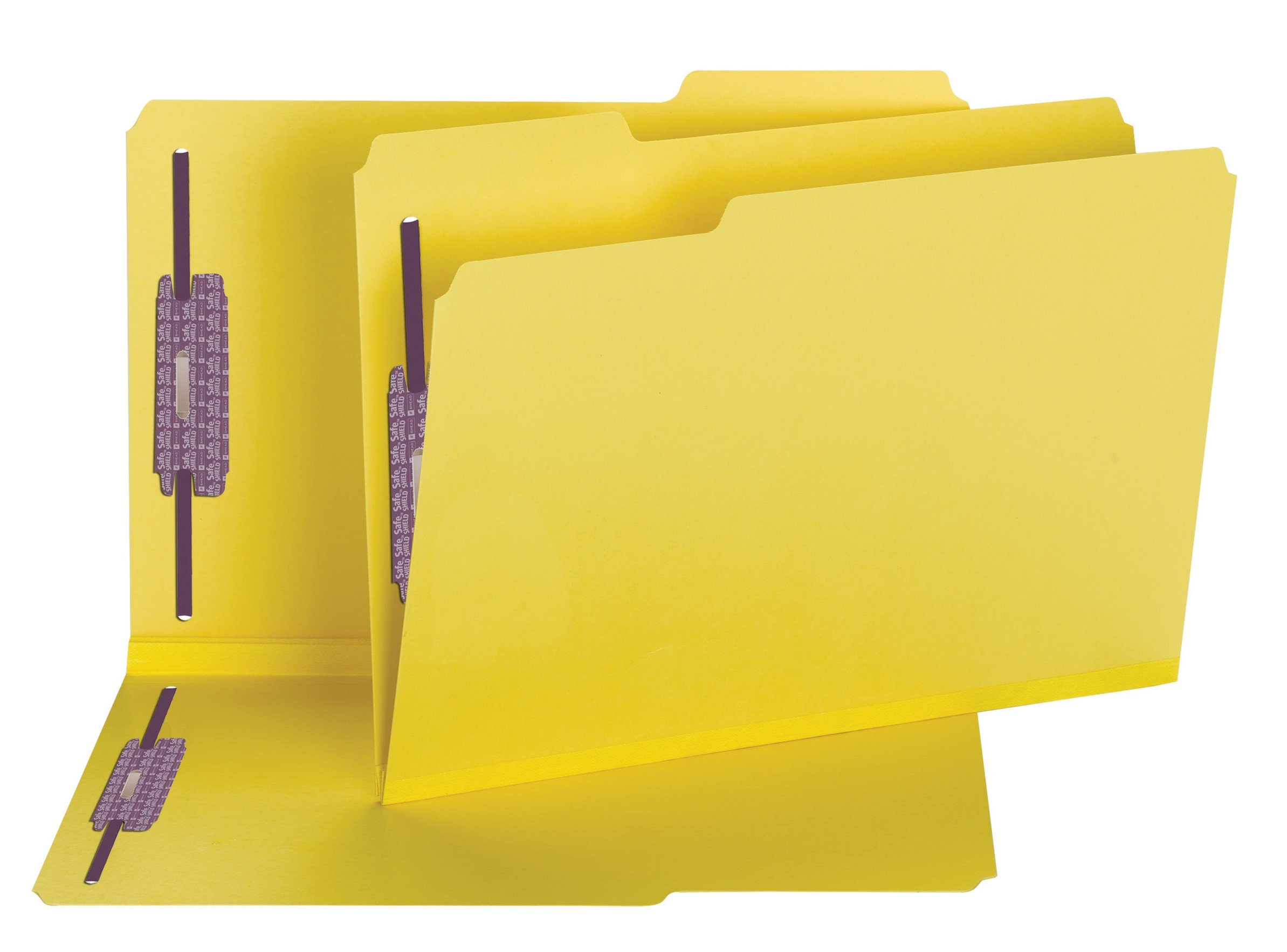 Smead Pressboard Fastener File Folder with SafeSHIELD Fasteners, 2 Fasteners, 1/3-Cut Tab, 2'' Expansion, Legal Size, Yellow, 25 per Box (19939)