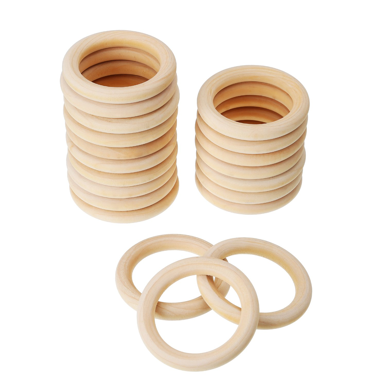 eBoot 20 Pack Wood Rings Wooden Rings for Craft, Ring Pendant and Connectors Jewelry Making (70 mm)