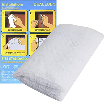 Idealeben 2pcs Cortinas Mosquiteras para Ventanas Adhesivo Mosquitera 1.3m x 1.5m (Blanca): Amazon.es: Bebé