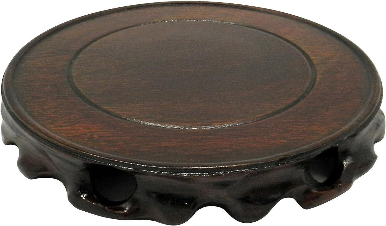 CVHOMEDECO. Rústico Antiguo Madera Maciza Circular Soporte de Pantalla jarrón Maceta Base Pedestal pecera. (Dia.12 cm)
