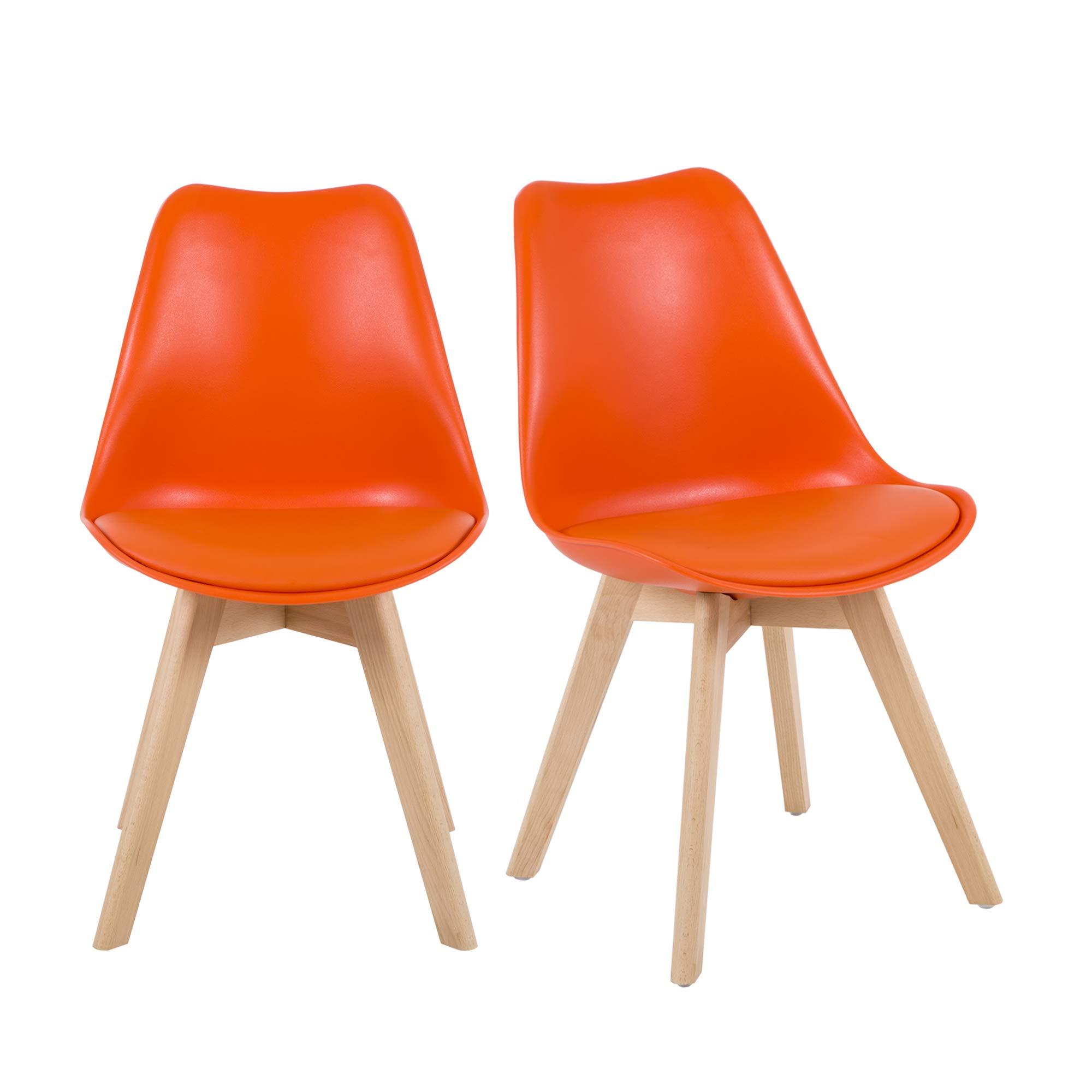 NOBPEINT Eames-Style Mid Century Dining Chairs,Set of 2(Orange)