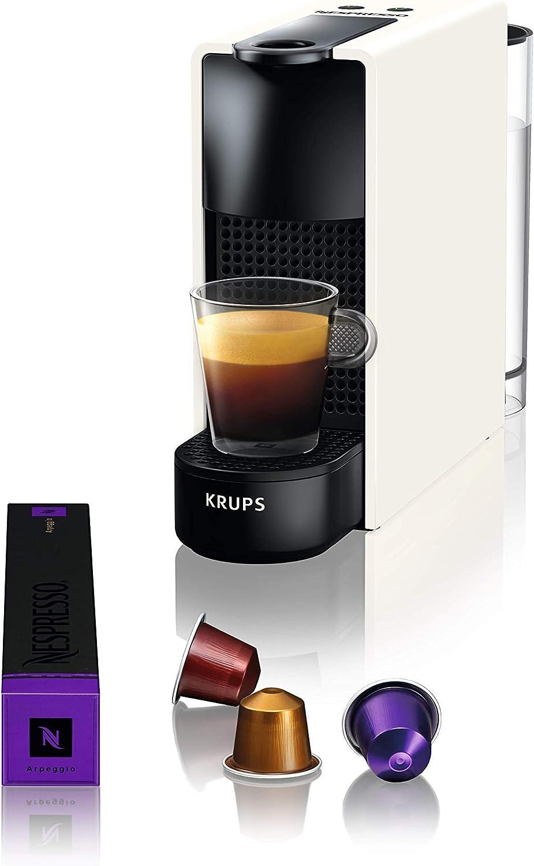 Nespresso Krups Essenza Mini XN1101 - Cafetera monodosis de cápsulas Nespresso, compacta, 19 bares, apagado automático, color blanco (Pack Cápsulas bienvenida incluido): Amazon.es: Hogar