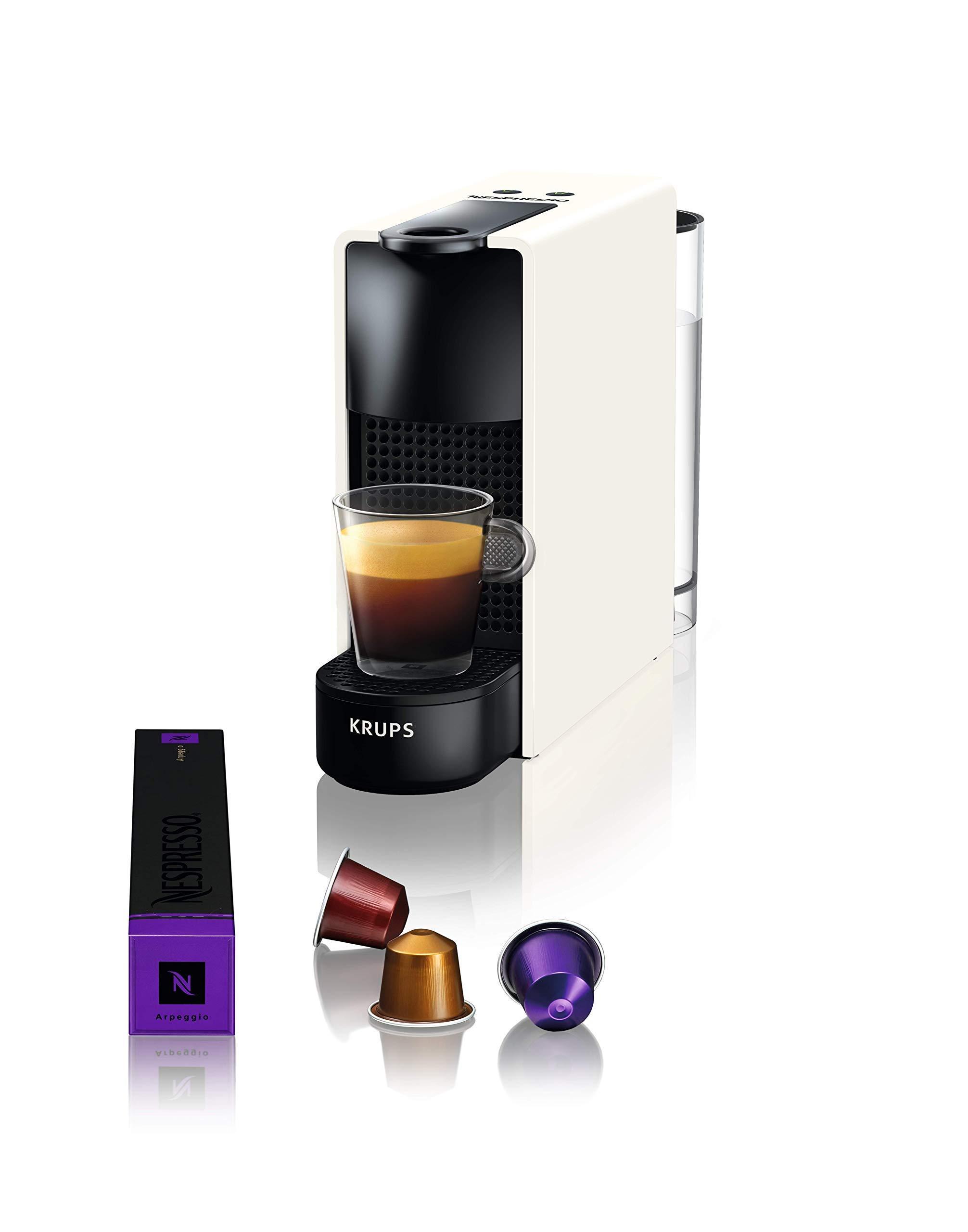 Krups Nespresso Essenza Mini XN1101 - Cafetera monodosis de cápsulas Nespresso, compacta, 19 bares, apagado automático, color blanco, Pack Cápsulas bienvenida incluido