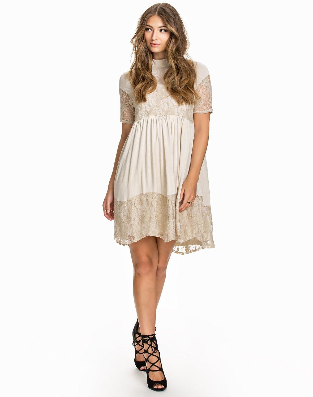 Vila Spitzen Kleid Mit Kurzen Ärmeln Sandshell