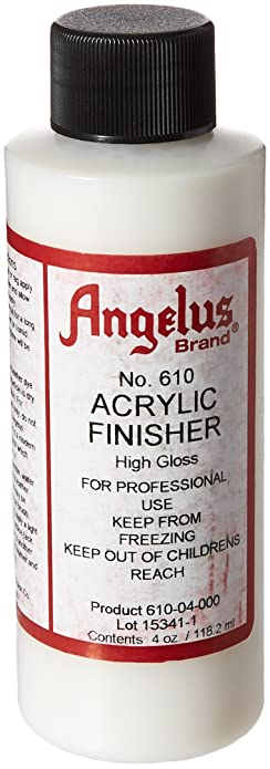 angelus brand acrylic leather paint high gloss finisher no 610 4oz