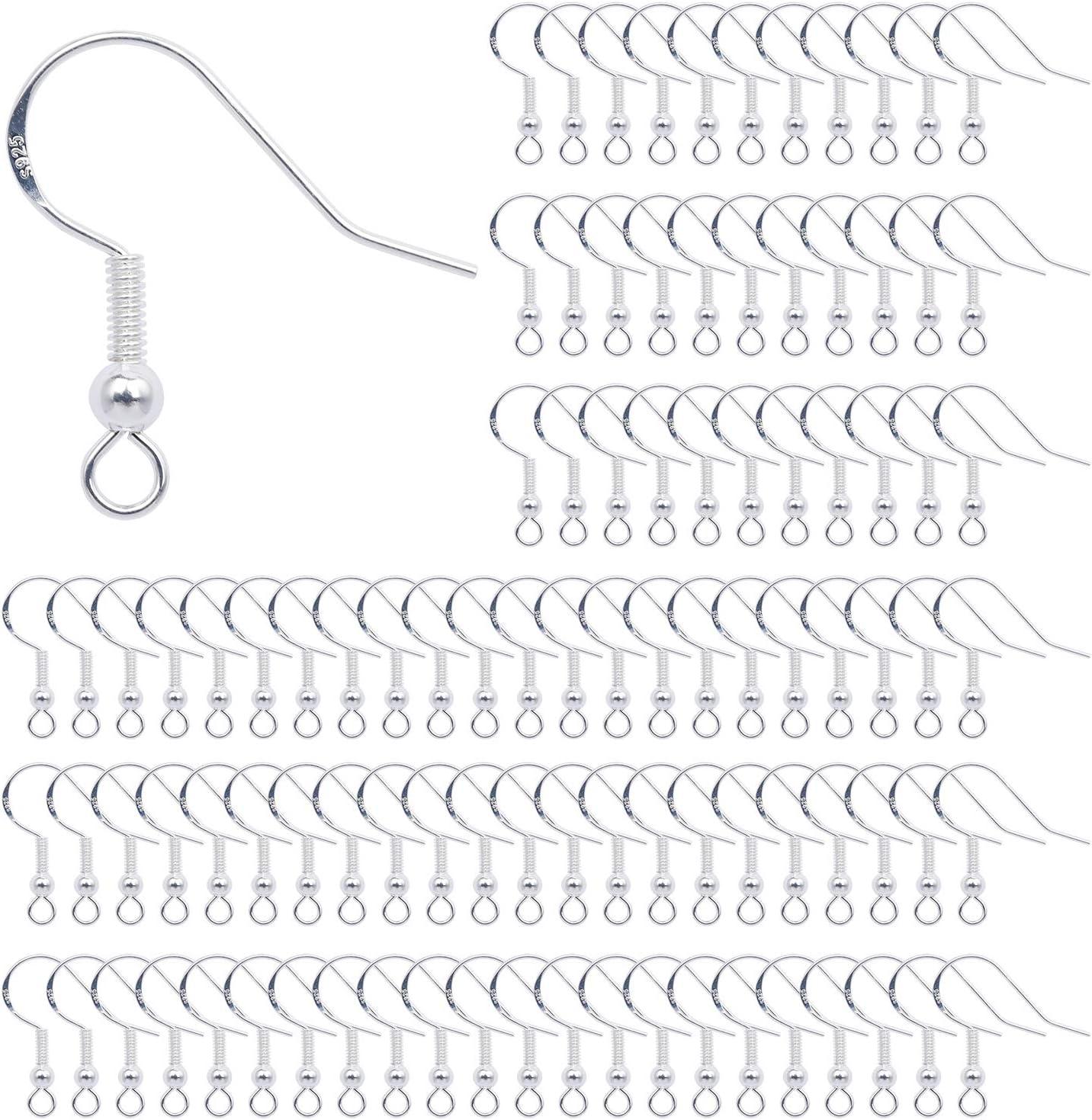 Ganchos para Pendientes Ganchos de Plata de Ley 925 para Pendientes Accesorios Para Bricolaje Hacer Joyería 100 Piezas