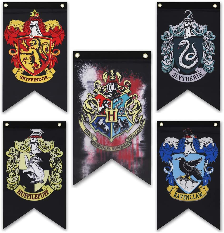 Harry Potter House Wall Banners Set - Hogwarts House Party Banners Flags Complete 5pcs Set Collection - Gryffindor, Slytherin, Hufflepuff, Ravenclaw Banner Set (20 inch * 12 inch)