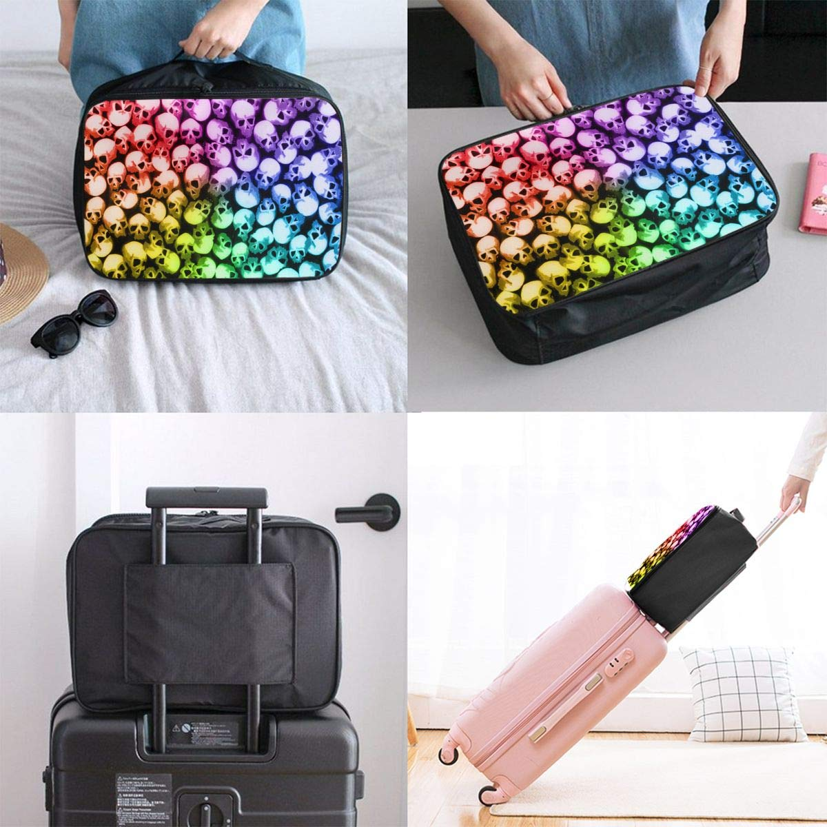 Women /& Men Foldable Travel Duffel Bag Stacking Skull Colorful Cool For Luggage Gym Sports