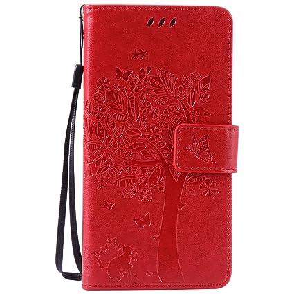 Nancen Tasche Hülle für Sony Xperia M2 Aqua (4,8 Zoll) Flip Schutzhülle Zubehör Lederhülle mit Silikon Back Cover PU Leder Ha