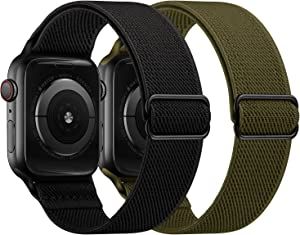 OUHENG 2 Pack Stretchy Band Compatible with Apple Watch Bands 44mm 42mm 40mm 38mm, Elastic Braided Nylon Sport Stretch Solo Loop Strap for iWatch SE Series 6/5/4/3/2/1, Black/Army Green, 44/42mm