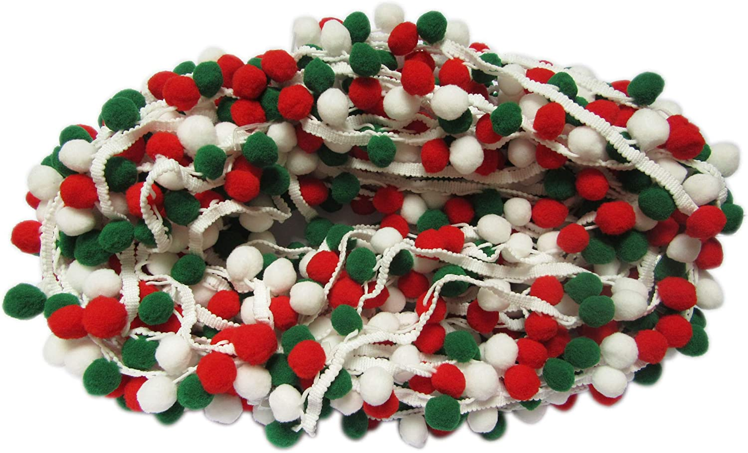 Pom Size:1 Red//Green YYCRAFT 5 Yards Large Christmas Pom Pom Ball Fringe Trim Ribbon Sewing Lace for Clothing Curtain Pillow Accessory Decoration DIY Craft