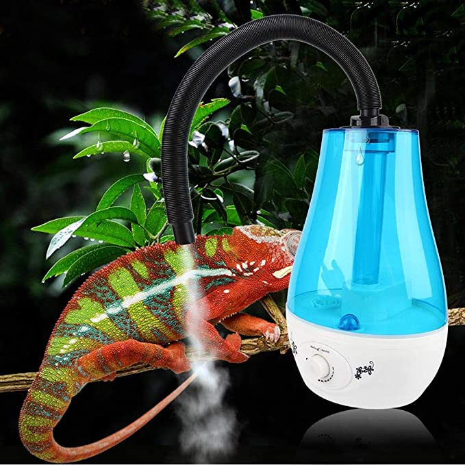 HEEPDD Humidificador de Reptiles, Tanque de Agua 3L sin Ruido Niebla fría Que Hace la máquina con botón Ajustable para lagartos Camaleones Serpientes Terrario 100-240V(Enchufe de la UE)