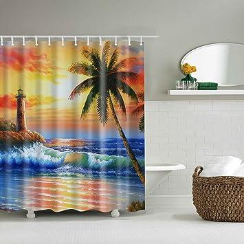 Amazon EA STONE Ocean Palm Trees Island Shower Curtain Set