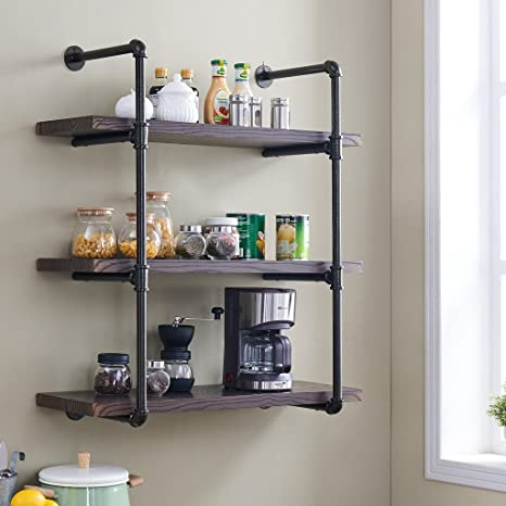Homissue 3 Shelf Rustic Pipe Shelving Unit 31 5 Inch Vintage Industrial Pipe Wall Shelf Espresso Brown