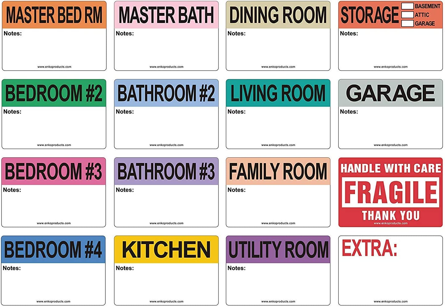 enKo - 2 x 3 Inch Extra Large Home Moving Packing Labels Stickers for Box - Color Coded for Boxes, Packing Box Fragile Stickers (800 Labels, 4 Bedroom House)
