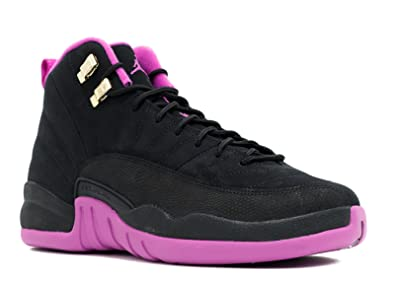 best service d2cdb 178bf Nike Girls Air Jordan 12 Retro GG Black Metallic Gold Star-Hyper Violet  Suede