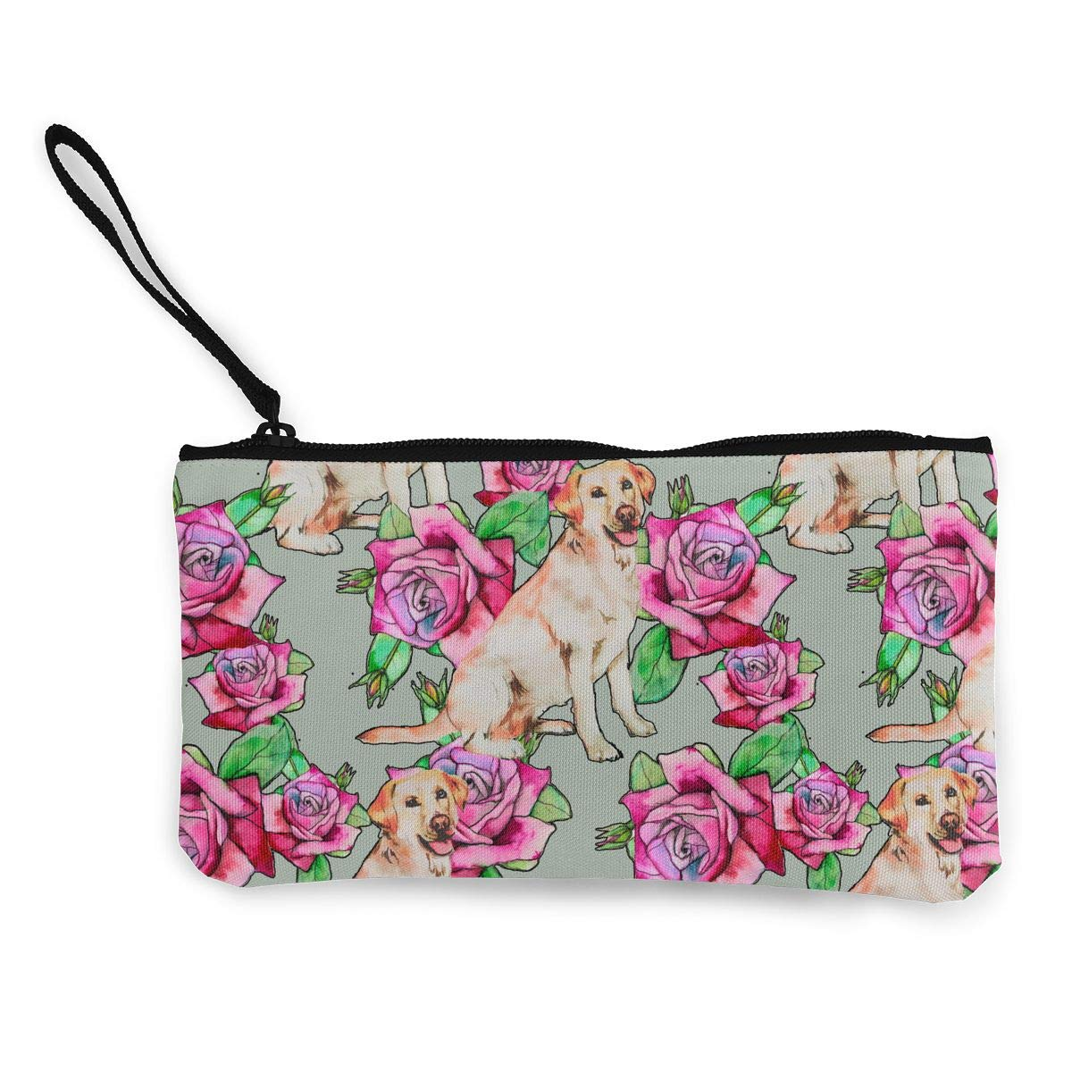 Zipper Small Purse Wallets Roses And Labrador Pattern Girls Canvas Coin Wallet