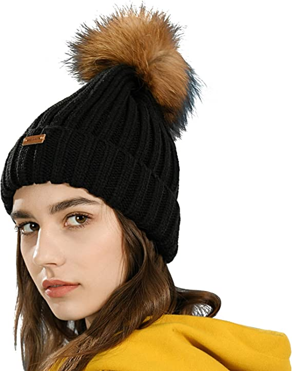 Women/'s Winter Hat  Crochet Beanie Hat with Pom Pom  Chunky Wool Hat for Her  Winter Accessories  Bobble Beanie   Gift for Her