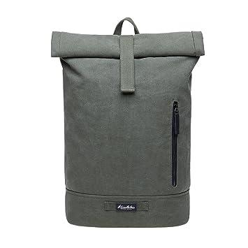 6ed162914ab2e KAUKKO Rucksack Roll Top Backpack Lässiger Vintage Tagesrucksack Herren  Laptop Schulrucksack fit 15 quot  Notebook Bag
