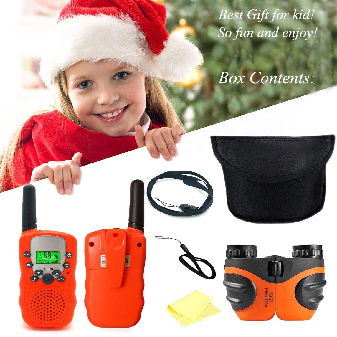 Happy Gift Toys for 3-12 Year Old Girls, Walkie Talkies for Kids Toys for 3-12 Year Old Boys Mini BinocularsToys Gifts for Teen Boys Gifts for Teen Girls Birthday Gifts,1Set(Orange) by Happy Gift (Image #7)