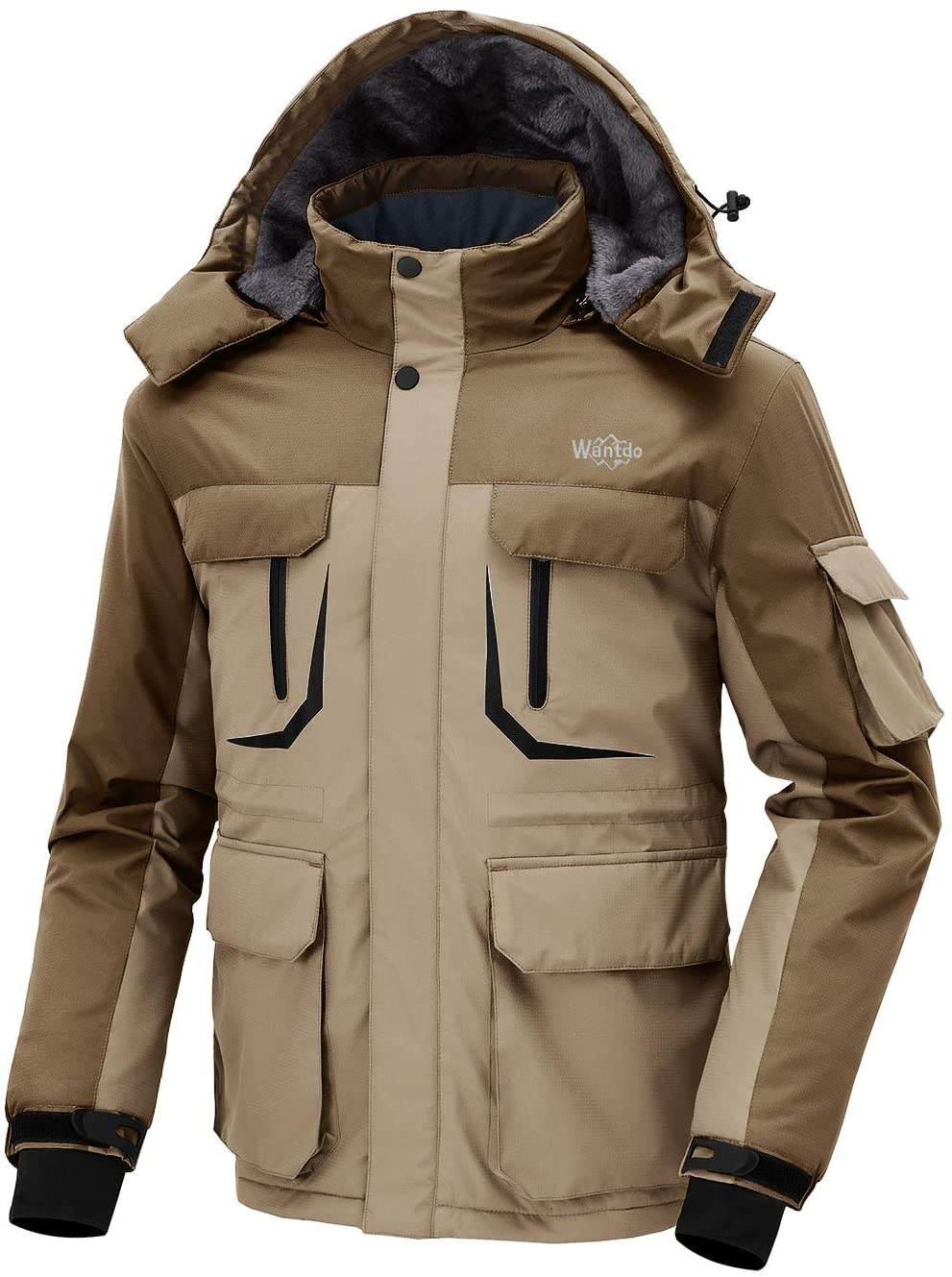 Wantdo Homme Veste de Ski Outdoor Manteau dhiver Chaud avec Capuche Amovible Veste Imperm/éable Coupe-Vent Veste Randonn/ée pour Voyage