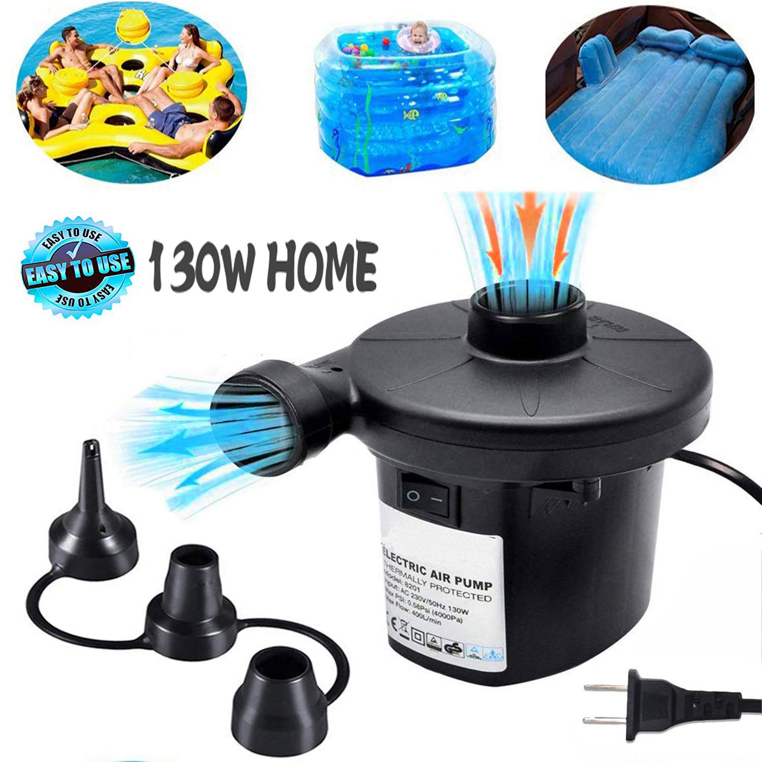 Electric Air Pump for Inflatables ONG NAMO Portable Quick Air Pump with 3 Nozzles for Air Mattresses