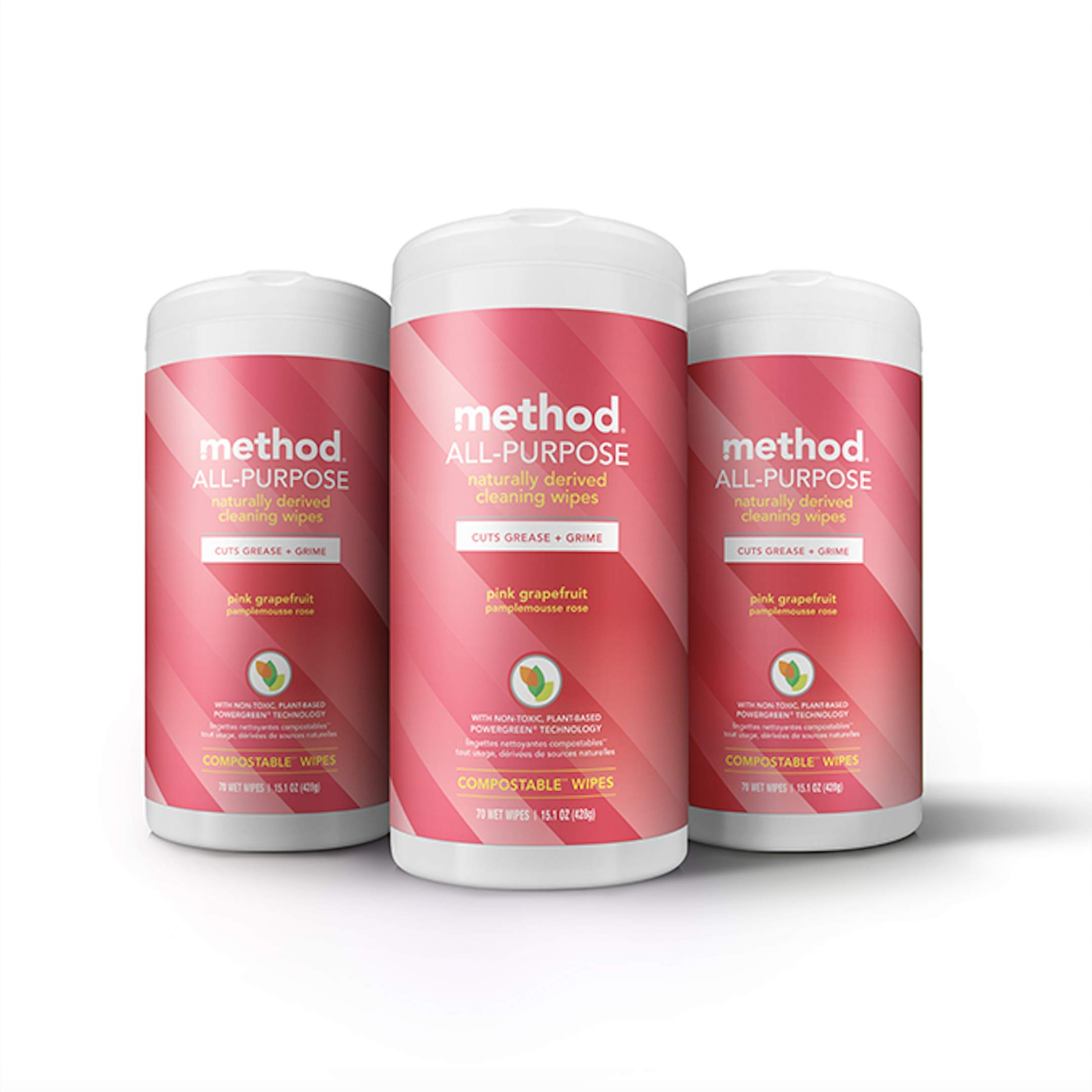 Method All-purpose Cleaning Wipes, Pink Grapefruit, 70 Count,Pack of 3